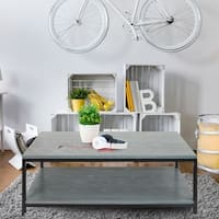 American Trails Contemporary Coffee Table with Solid Red Oak Top and Shelf