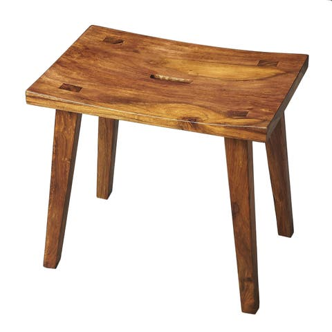 Butler Modern Rectangular Solid Acacia Wood Stool in Loft Finish - Light Brown