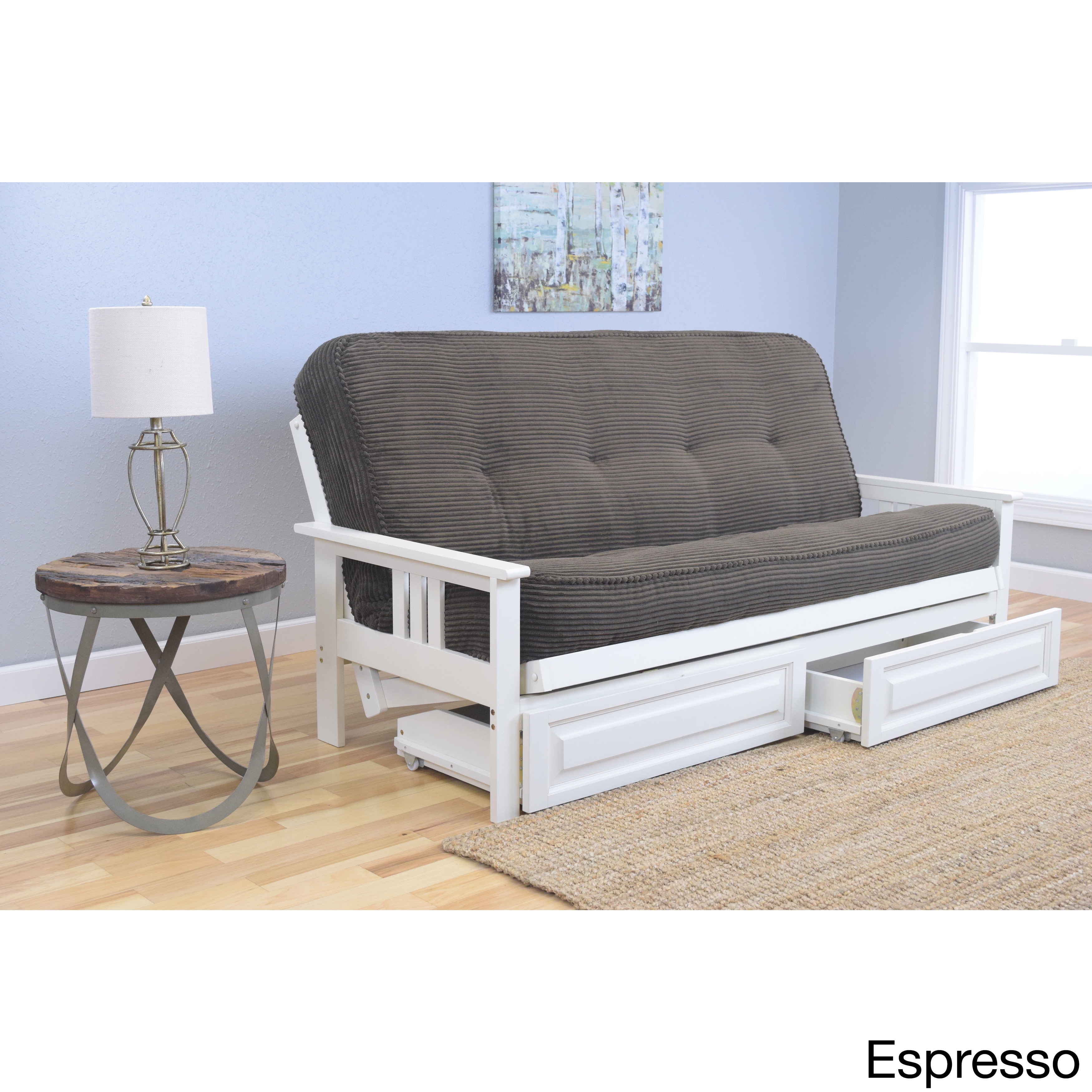 Somette Beli Mont Futon 2 drawer Antique White Frame and Mattress