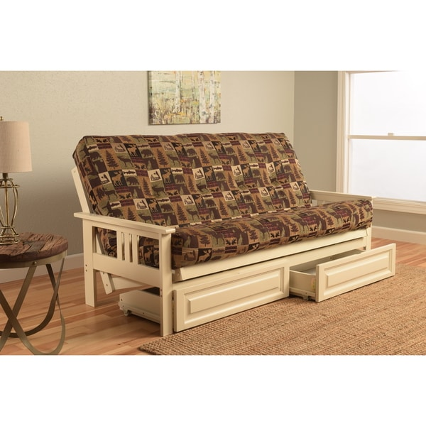 Shop Somette Beli Mont Brown Green Fabric Wood Futon With
