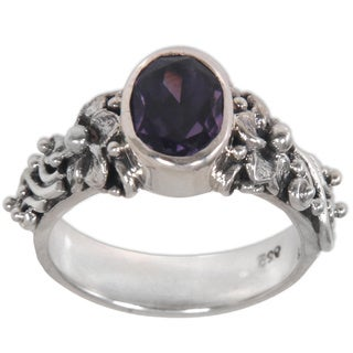 Handcrafted Sterling Silver 'Frangipani Path' Amethyst Ring (Indonesia)
