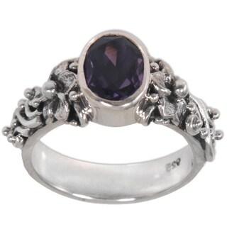 Handmade Sterling Silver 'Frangipani Path' Amethyst Ring (Indonesia)