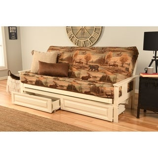 Somette Beli Mont Futon with Antique White Hardwood Frame, Rustic Pattern Cotton/Polyester Mattress, and Storage Drawers