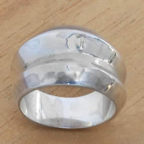 Handmade Sterling Silver 'Modern Moonbeams' Ring (Indonesia)