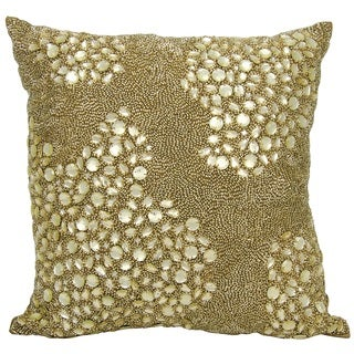 Mina Victory Luminescence Fully Beaded Light Gold Throw Pillow by Nourison (16 x 16-inch)