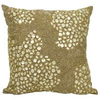 Mina Victory Luminescence Fully Beaded Light Gold Throw Pillow by Nourison (16-Inch X 16-Inch)