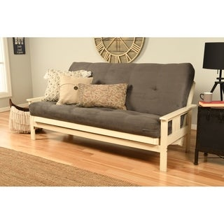 Somette Beli Mont Futon with Antique White Frame and Suede Grey Mattress