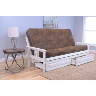 Somette Beli Mont Futon With Antique White Frame, Palomino Tobacco Mattress, and Storage Drawers