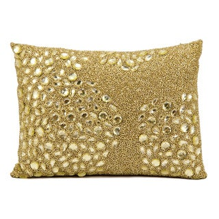 Mina Victory Luminescence Fully Beaded Light Gold Throw Pillow by Nourison (10 x 14-inch)