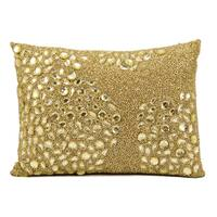Mina Victory Luminescence Fully Beaded Light Gold Throw Pillow by Nourison (10-Inch X 14-Inch)