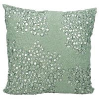 Mina Victory Luminescence Fully Beaded Celadon Throw Pillow by Nourison (20-Inch X 20-Inch)