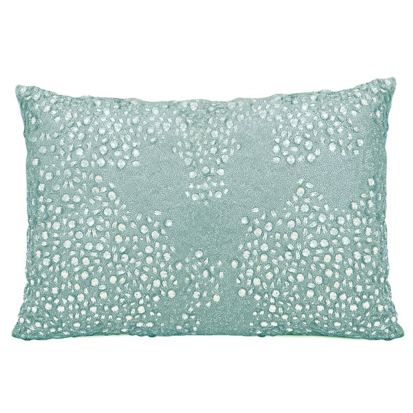 Blue Beaded Throw Pillow : Mina Victory Luminescence Fully Beaded Blue Throw Pillow by Nourison (10 x 14-inch) - Free ...