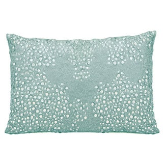Mina Victory Luminescence Fully Beaded Blue Throw Pillow by Nourison (10 x 14-inch)