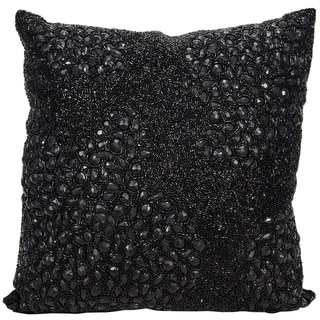 Mina Victory Luminescence Fully Beaded Black Throw Pillow by Nourison (20-Inch X 20-Inch)