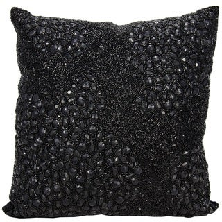 Mina Victory Luminescence Fully Beaded Black Throw Pillow by Nourison (16 x 16-inch)