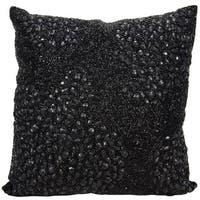 Mina Victory Luminescence Fully Beaded Black Throw Pillow by Nourison (16-Inch X 16-Inch)