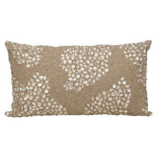 Mina Victory Luminescence Fully Beaded Beige Throw Pillow by Nourison (13-Inch X 18-Inch)