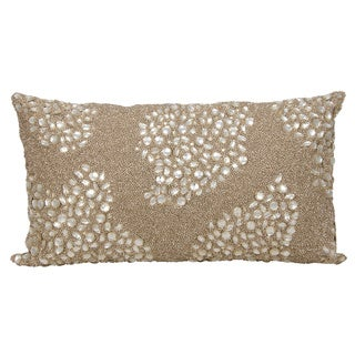 Mina Victory Luminescence Fully Beaded Beige Throw Pillow by Nourison (13 x 18-inch)