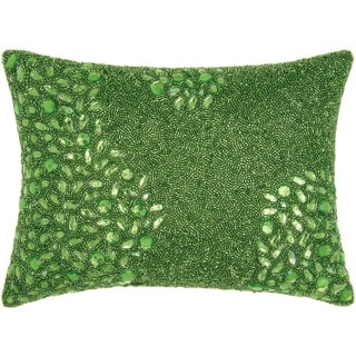 Mina Victory Luminescence Fully Beaded Apple Green Throw Pillow by Nourison (10 x 14-inch)
