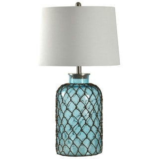 Journee Home 'Mermaid' 5-inch Seeded Glass and Netting Table Lamp