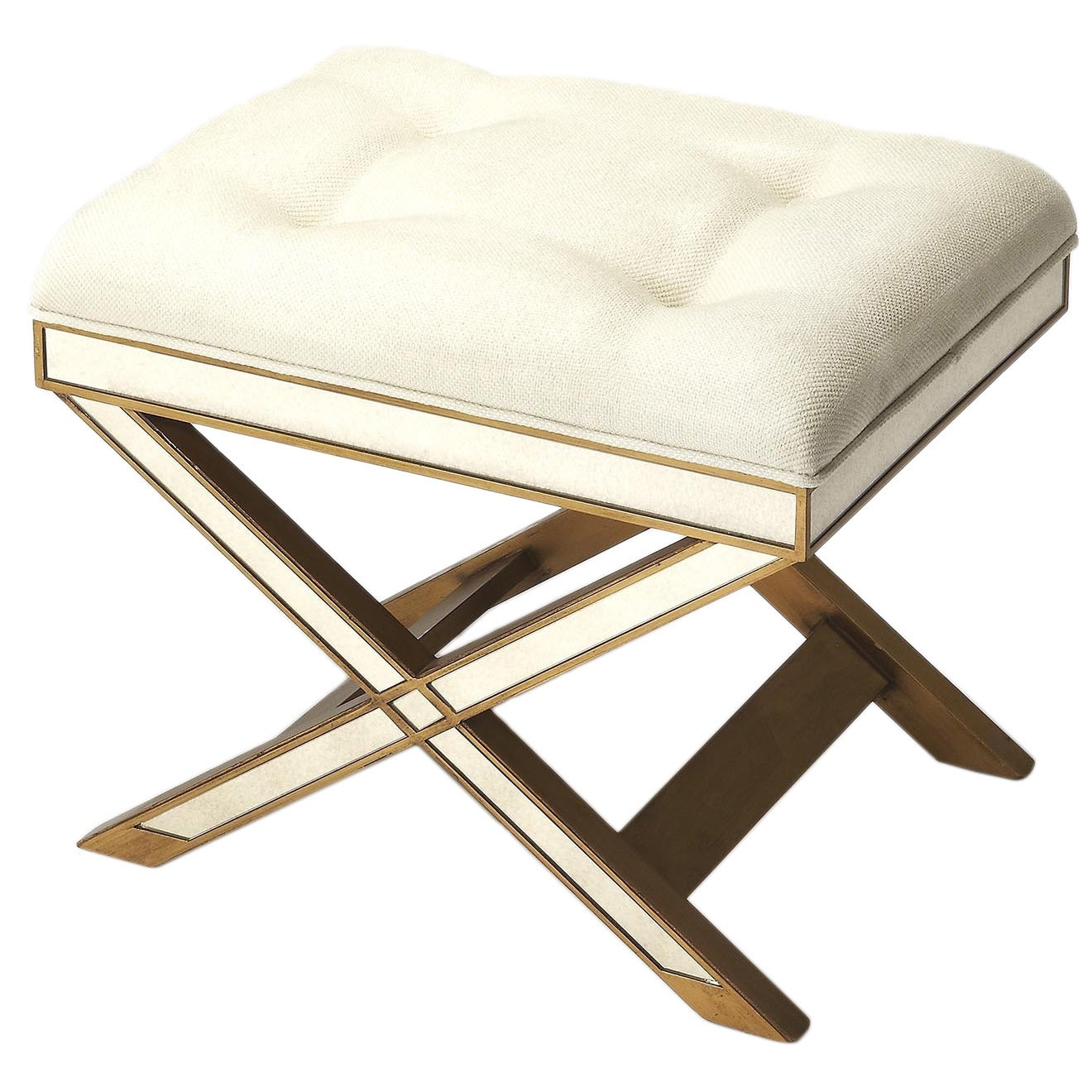 Butler Marlo Mirrored Gold/Ivory Vanity Stool (Gold) (MDF)