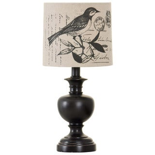 Journee Home 'Nightbird' 17.5-inch Traditional Bird Print Shade Accent Table Lamp