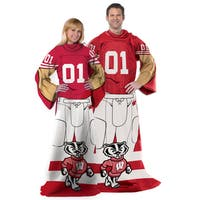 Wisconsin Badgers Red/White Fleece Throw With Sleeves
