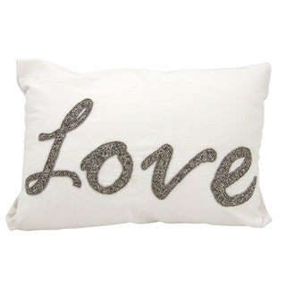 Mina Victory Luminescence Beaded Love White Throw Pillow by Nourison (14 x 20-inch)