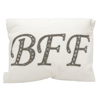 Mina Victory Luminescence Beaded BFF White Throw Pillow by Nourison (12 x 18-inch)
