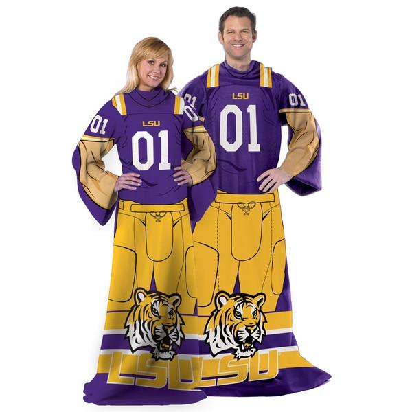 COL 024 LSU Yellow/Purple Fleece Throw With Sleeves