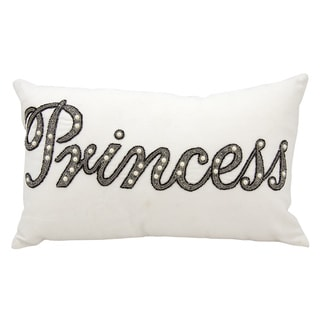 Mina Victory Luminescence Beaded Princess White Throw Pillow by Nourison (12-Inch X 20-Inch)