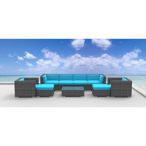 Urban Furnishing Fiji 9-piece Modern Outdoor Backyard Wicker Rattan Patio Furniture Sectional Sofa Set