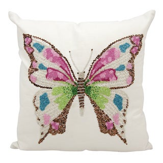 Mina Victory Luminescence Beaded Butterfly Multicolor Throw Pillow by Nourison (18 x 18-inch)