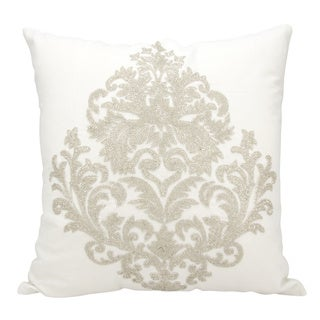 Mina Victory Luminescence Beaded Damask Silver Throw Pillow by Nourison (18 x 18-inch)