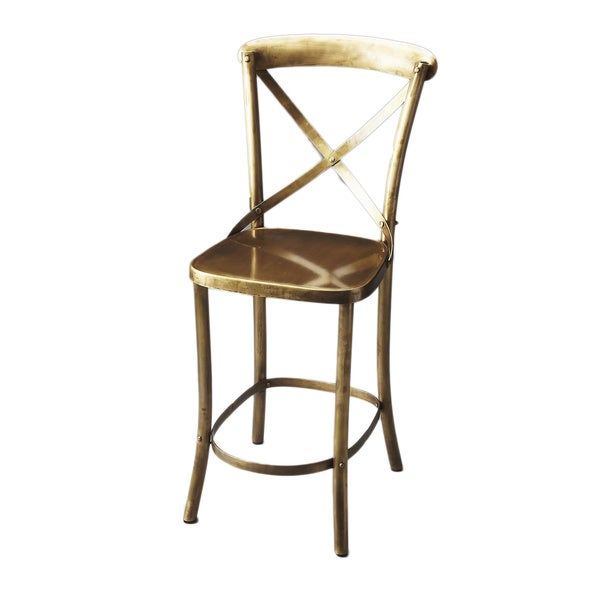 Handmade Butler Gold-finished Iron Bar Stool (India)