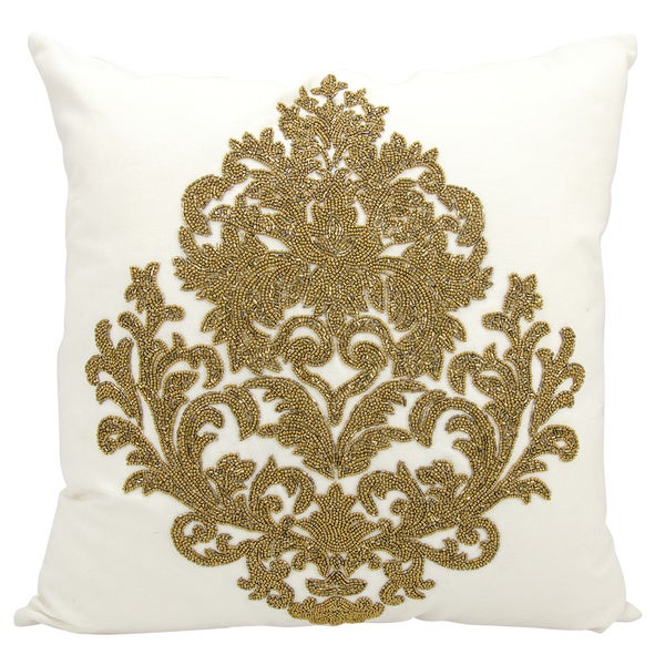 Mina Victory Luminescence Beaded Damask Bronze Throw Pillow by Nourison (18 x 18-inch)