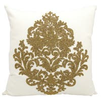 Mina Victory Luminescence Beaded Damask Bronze Throw Pillow by Nourison (18-Inch X 18-Inch)