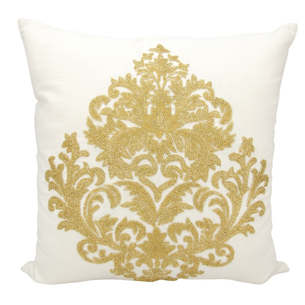 Mina Victory Luminescence Beaded Damask Gold Throw Pillow by Nourison (18-Inch X 18-Inch)