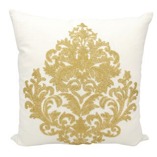 Mina Victory Luminescence Beaded Damask Gold Throw Pillow by Nourison (18 x 18-inch)