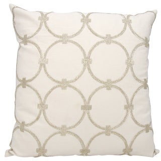 Mina Victory Luminescence Circles Silver Throw Pillow by Nourison (20 x 20-inch)