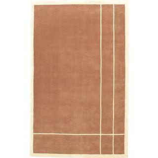 eCarpetGallery Mod Elegance Brown Handmade Wool Rug (5' x 8')