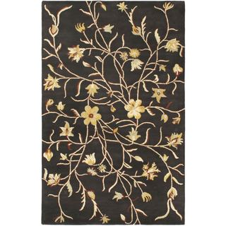 eCarpetGallery Infinity Black/Cream/Copper/Gold/Gray Wool and Cotton Handmade Rug (5' x 8')