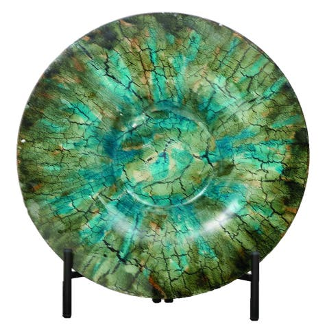 Shades of Green Glass Decorative Charger Plate and Stand
