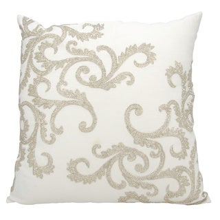 Mina Victory Luminescence Beaded Corner Scroll Silver Throw Pillow by Nourison (20 x 20-inch)