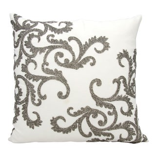 Mina Victory Luminescence Beaded Corner Scroll Pewter Throw Pillow by Nourison (20 x 20-inch)