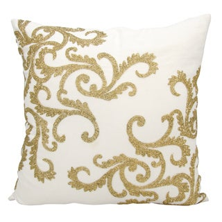 Mina Victory Luminescence Beaded Corner Scroll Gold Throw Pillow by Nourison (20 x 20-inch)