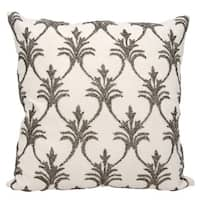 Mina Victory Luminescence Fleur De Lis' Pewter Throw Pillow by Nourison (18-Inch X 18-Inch)