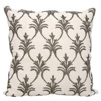 Mina Victory Luminescence Fleur De Lis' Pewter Throw Pillow by Nourison (18 x 18-inch)