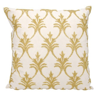 Mina Victory Luminescence Fleur De Lis' Light Gold Throw Pillow by Nourison (18-Inch X 18-Inch)