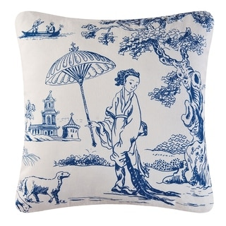 C and F Enterprises Geisha Blue/White Cotton/Polyester 18-inch x 18-inch Throw Pillow